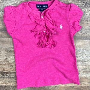 Ralph Lauren Ruffle Pink T-shirt Size 2T